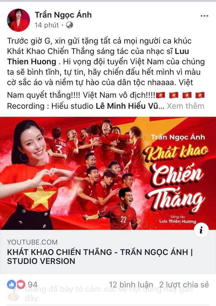 Thầy trò Noo Phước Thịnh  Ngọc Ánh ủng hộ U22 Việt Nam, Diệu Nhi  Kaity Nguyễn hòa cùng sắc đỏ chung kết SEA Games 30 ảnh 1