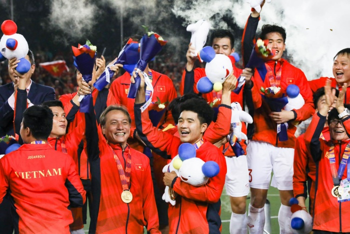 U22 Việt Nam giành HCV đầu tiên tại đấu trường SEA Games. (Ảnh: PV)