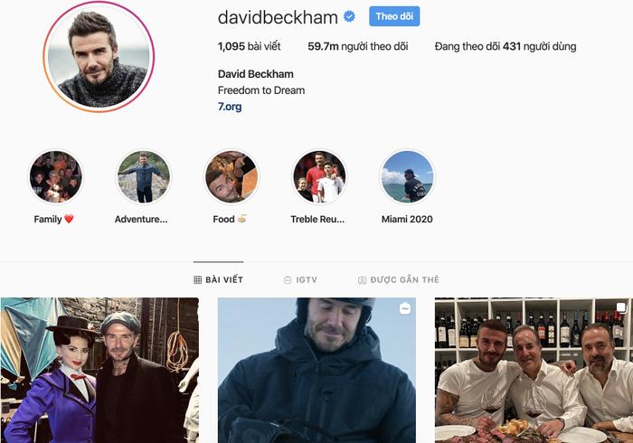 David Beckham có thể kiếm được 286.000 USD (khoảng 6,6 tỷ đồng) khi đăng một bài đăng chứa quảng cáo trên Instagram có tới gần 60 triệu người theo dõi. (Ảnh chụp màn hình / David Beckham Instagram)