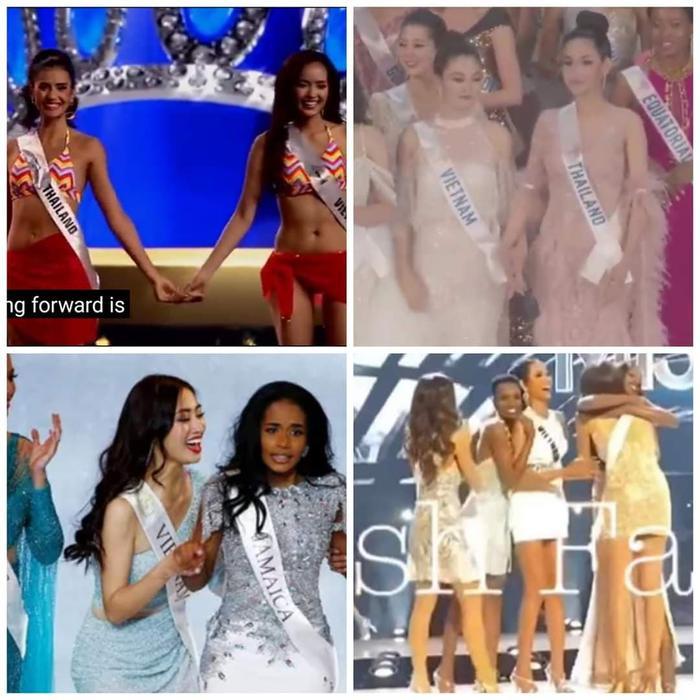 4 tân hoa hậu của BIG 4 đều nắm tay đại diện Việt Nam trước lúc trở thành người đẹp đăng quang.