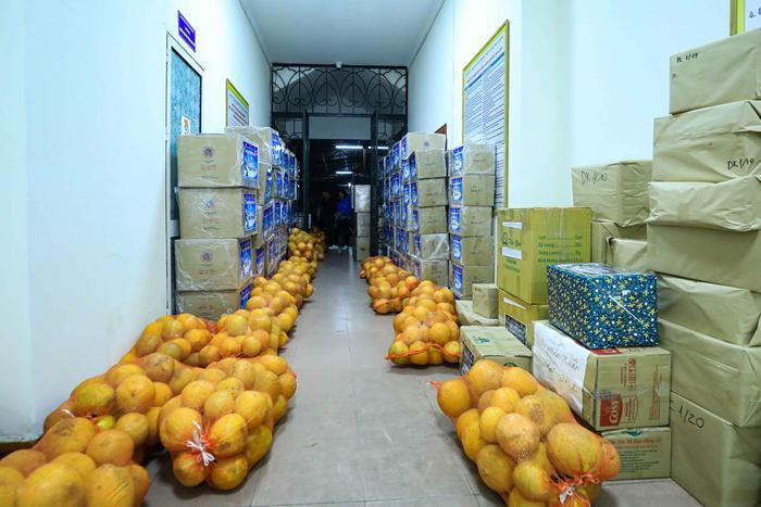 Hàng nghìn quả bưởi được các tình nguyện viên đóng gói cẩn thận.