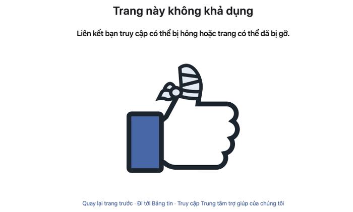 """Hiện fanpage """"Đại Kỷ Nguyên"""" đã không còn khả dụng trên Facebook."""
