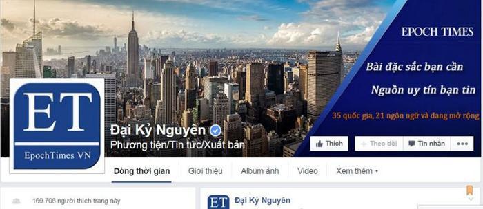 """Fanpage """"Đại Kỷ Nguyên"""" trước khi bị Facebook xóa sổ do cáo buộc đăng thông tin sai lệch."""