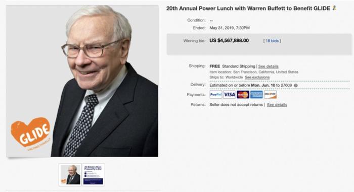 """Bữa trưa với Warren Buffett: Với giá 4.567.888 USD, bữa trưa với nhà đầu tư thiên tài Warren Buffett là """"món đồ"""" đắt giá nhất được bán trên eBay trong năm 2019. Người thực hiện mua nó là người sáng lập nền tảng công nghệ chuối khối TRON Justin Sun. (Ảnh: eBay)"""