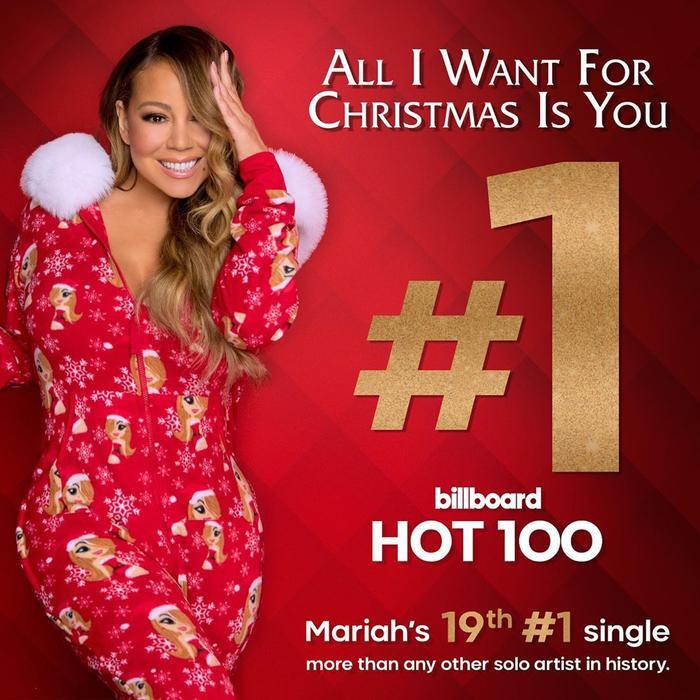 All I Want For Christmas Is Youđã giúp cô nàng đã trở thành nữ nghệ sĩ duy nhất trong lịch sử sở hữu nhiều ca khúc no.1: tổng cộng 19 ca khúc.