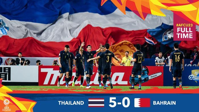 U23 Thái Lan đánh bại U23 Bahrain 5-0.