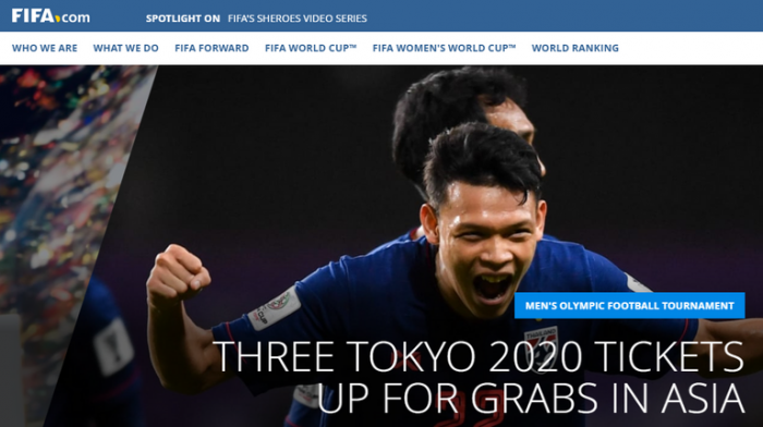 Supachai được trang chủ FIFA lấy làm hình nền cho bài viết.