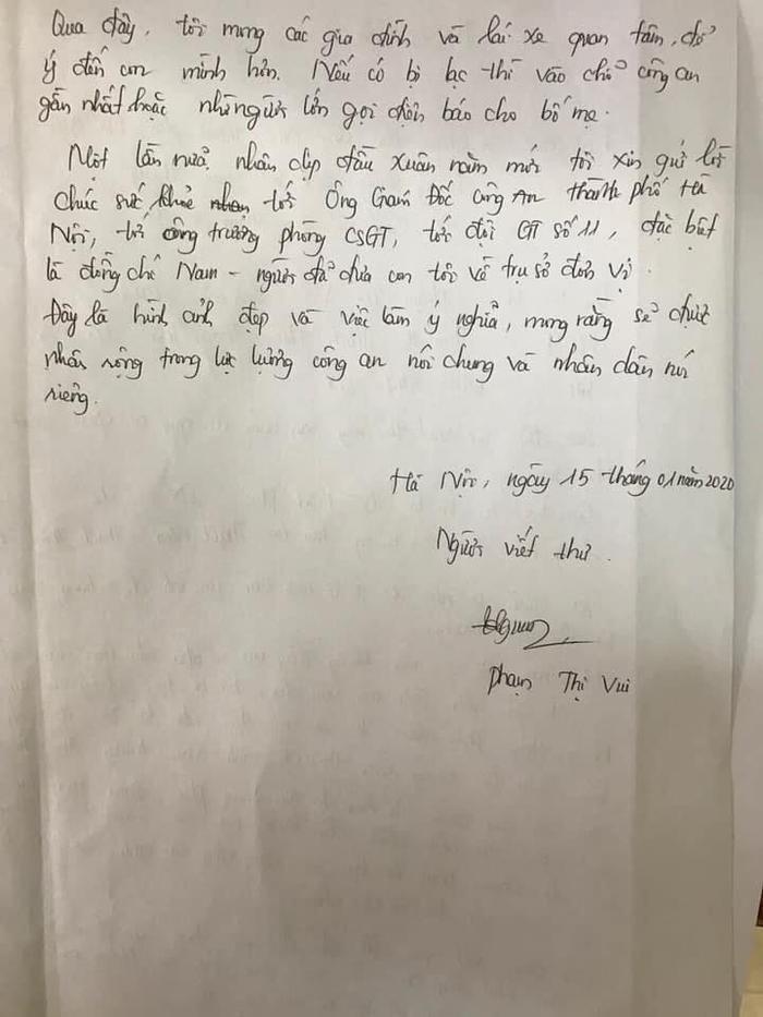 Chị Vui viết thư cám ơn tới các chiến sĩ CSGT