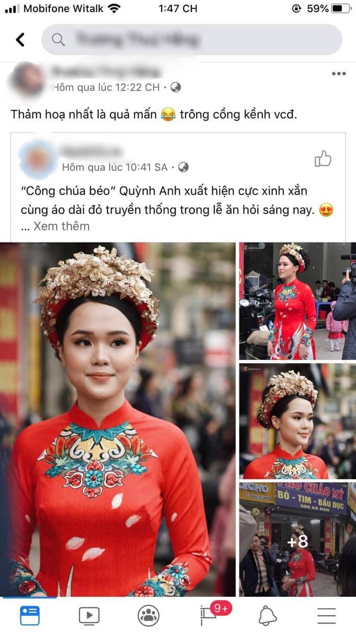 Nhiều ý kiến cho rằng chiếc mấn trông cồng kềnh, không tôn lên được nét duyên dáng, nữ tính thường thấy của Quỳnh Anh.