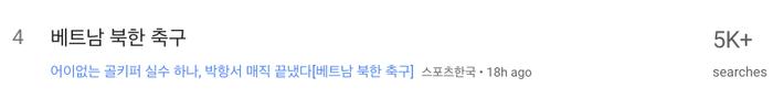 """Từ khóa """"Bóng đá Việt Nam"""" hiện đang nằm trong top 4 những từ khóa được tìm kiếm nhiều nhất trên Google Trends khu vực Hàn Quốc với hơn5.000 lượt tìm kiếm. (Ảnh chụp màn hình)"""