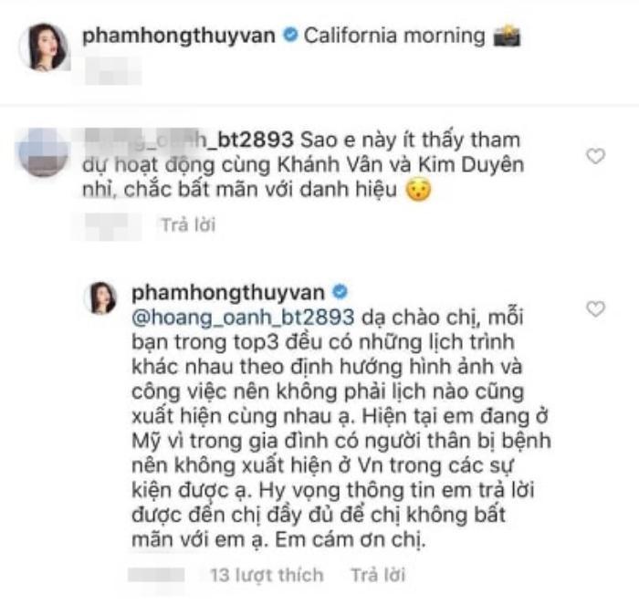 Thúy Vân bật mí lý do khiến cô nàng không thể xuất hiện cùng Khánh Vân – Kim Duyên và tham dự các sự kiện tại Việt Nam.