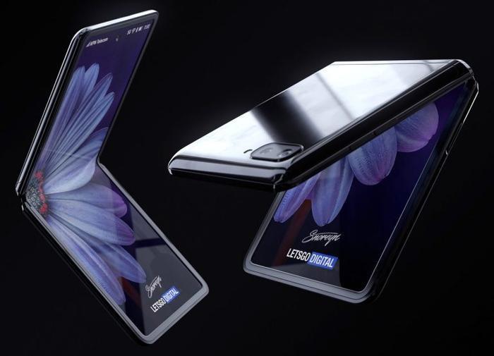 """Nếu như Samsung Galaxy Fold có thiết kế gấp mở được như một quyển sách, Samsung Galaxy Z Flip lại chọn cách tiếp cận khác như sử dụng thiết kế dạng """"vỏ sò"""". Với thiết kế này, Samsung Galaxy Z Flip sẽ có nhiều điểm tương đồng với chiếc RAZR của Motorola. (Ảnh: letsgodigital)"""
