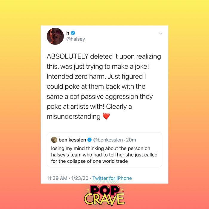 Ngay sau đó, nữ nghệ sĩ đã vội vàng xóa đi dòng tweet thiếu tính cân nhắc của mình và đã xin lỗi về hành vi lỗ mãng và mù quáng của bản thân. – nguồn ảnh: Popcrave.