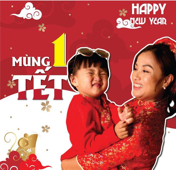 Quỳnh Trần JP và bé Sa lời chúc đến người hâm mộ nhân dịp xuân Canh Tý 2020. (Ảnh: Quỳnh Trần JP)