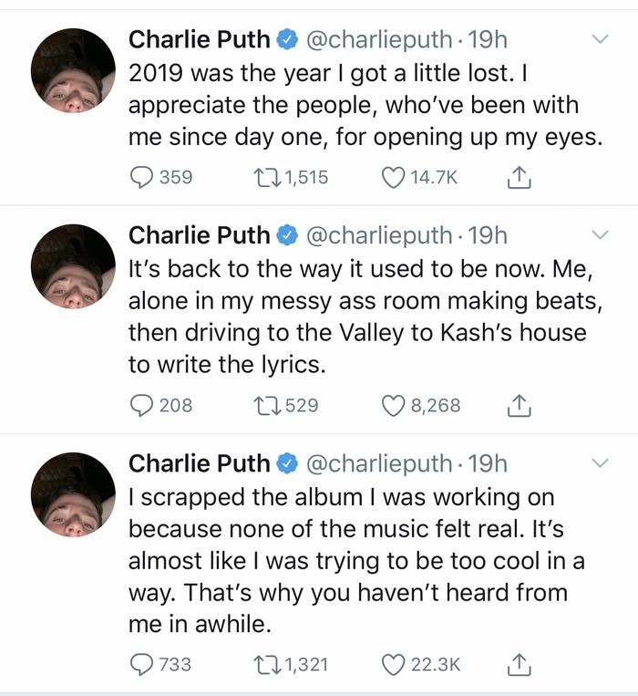 Toàn cảnh màn giải bày của Charlie Puth trên Twitter vừa qua.