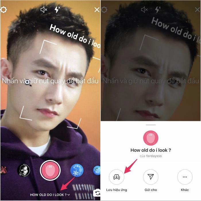 """Nếu thích, bạn có thểtải về bộ lọc xuống máy ảnh Instagram của mìnhbằng cách nhấn vào """"How old do I look?"""" và chọn biểu tượng mũi tên để lưu lại hiệu ứng."""