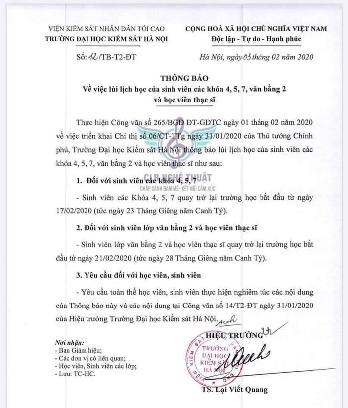 Thông báo trong ngày 3/2 của trường Đại học Kiểm sát Hà Nội
