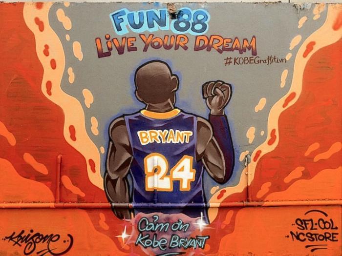 Hình vẽ Cám ơn Kobe Bryant tại Sài Gòn.