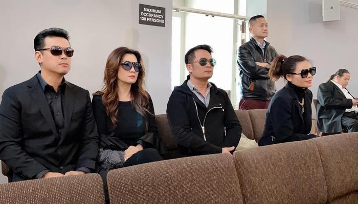 Trizzie Phương Trinh ngồi giữa bạn trai mới và chồng cũ tại một đám tang người thân