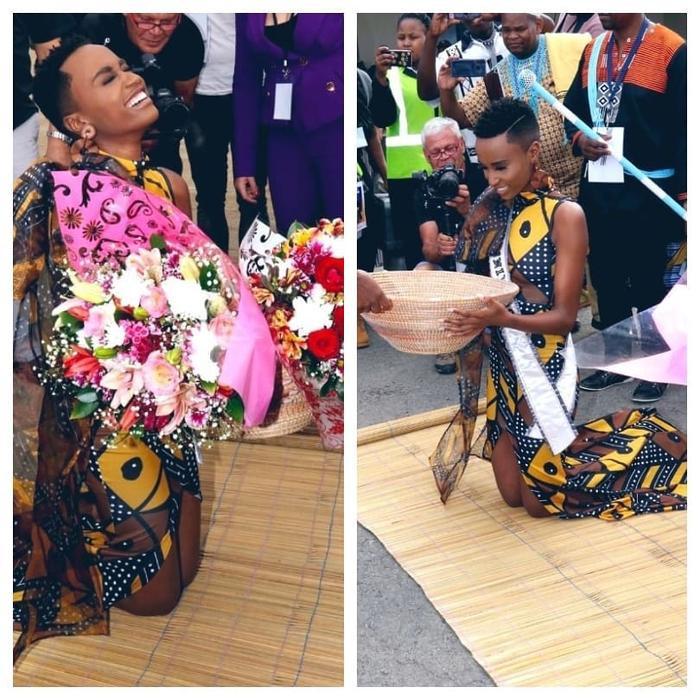 Người đẹp thực hiện các nghi thức truyền thống của người dân Nam Phi. Người ta thấy được ởZozibini Tunzi nguồn năng lượng tích cực ở quê nhà.
