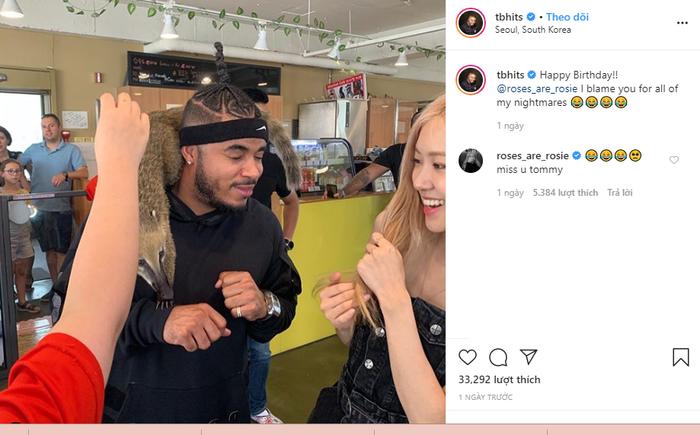Mới đây Tommy Brown đã đăng ảnh chúc mừng sinh nhật Rosé thể hiện mối quan hệ thân thiết.