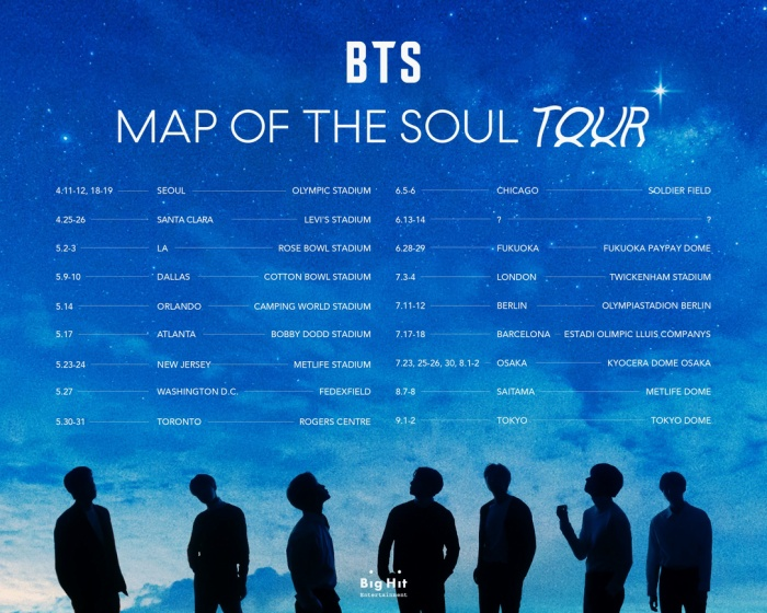 BTS đã bán sạch vétour concert 2020 Map Of The Soul Tour