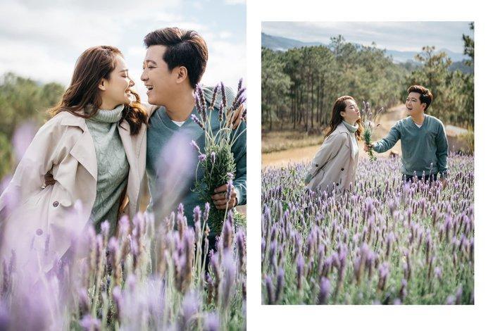 Giữa khung cảnh Đà Lạt thơ mộng, Trường Giang, Nhã Phương mang đến nhiều shoot hình toát lên sự hạnh phúc, lãng mạn.