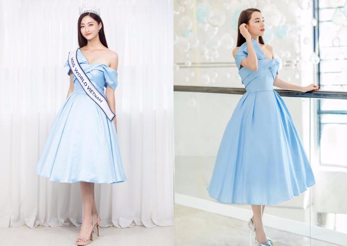 Ở lần đầu tiên đụng độ, bộ đôi cũngnhận được nhiều lời khen khi diện bộ váy xanh ngọt ngào.