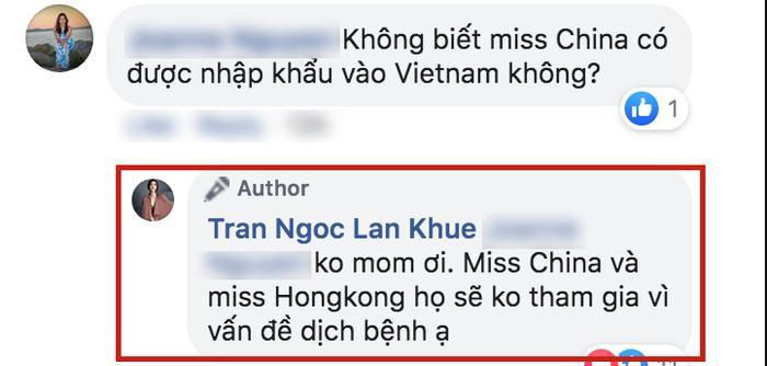 Lan Khuê xác nhận hoa hậu Trung Quốc và Hong Kong không tham gia Miss Charm 2020 vì vấn đề dịch bệnh.