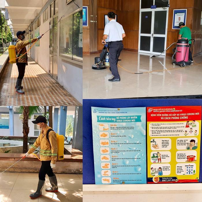 Trong đợt nghỉ học phòng dịch Corona, nhà trường tiến hành phun khử trùng các phòng học, khuôn viên. Ảnh: Fanpage UIT