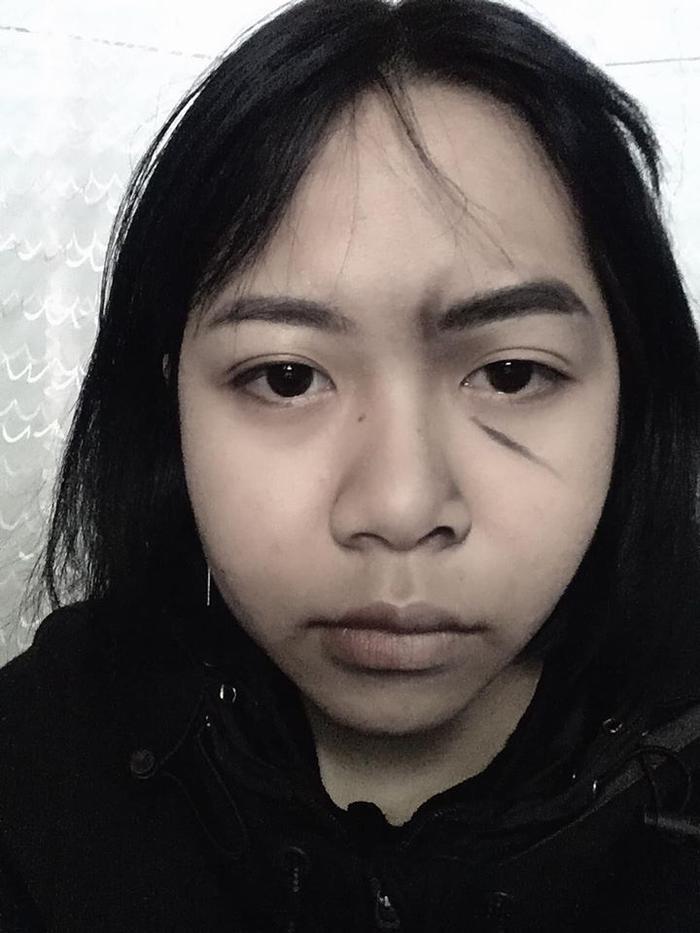 Khuôn mặt của Trang khi chưa hóa trang