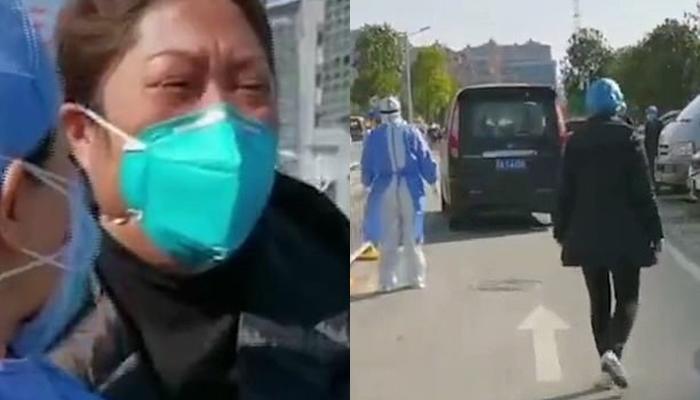 Đồng nghiệp của bác sĩ Liu đã tập trung bên ngoài bệnh viện Đồng Tế Vũ Hán chi nhánh Zhongfa Xincheng để tiễn ông an nghỉ.
