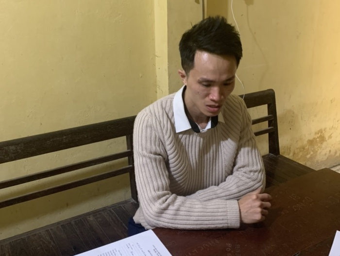 Lê Thành Hưng tại cơ quan công an.