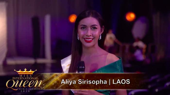 Người đẹp chuyển giới đến từ Lào. Hoài Sa trả lời ứng xử bằng tiếng Anh tại Miss International Queen 2020