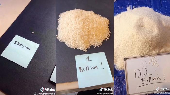 """Số gạo được quy đổi tương đương với khối tài sản """"siêu to khổng lồ"""" củatỷ phú Jeff Bezos. (Ảnh:Humphrey Yang)"""