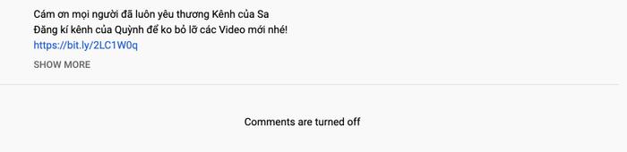 Trên kênh YouTube của bé Sa, tính năng bình luận cũng không còn hữu dụng