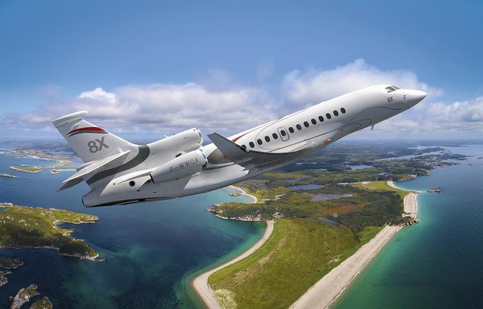 Mẫu máy bay Falcon 8Xđược coi như biểu tượng cho lịch sử thành công và sức mạnh công nghệ của Dassault. (Ảnh:DassaultFalcon)