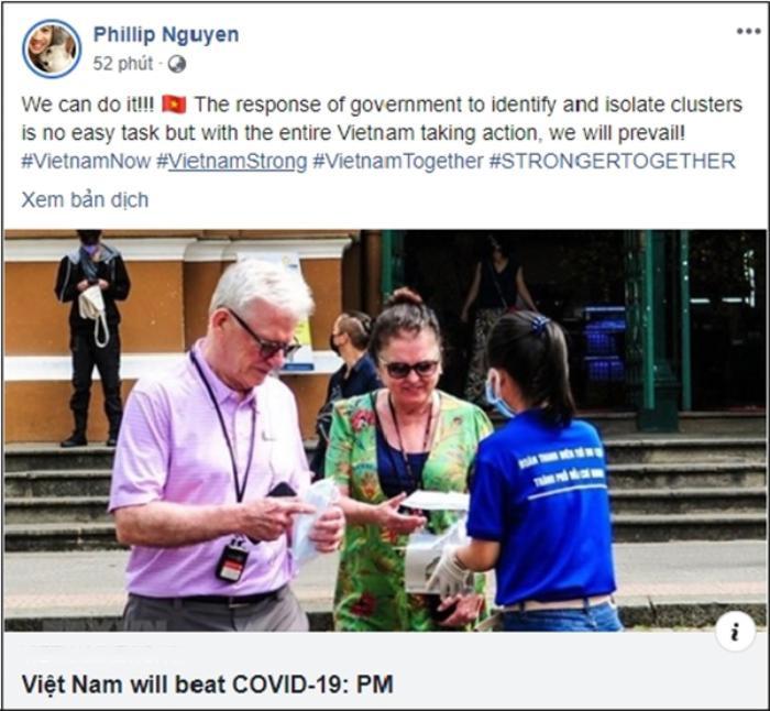Có thể thấy,con trai tỷ phúJohnathan Hạnh Nguyễn một lòng tin tưởng rằng Việt Nam sẽ sớm chiến thắng dịch bệnh.