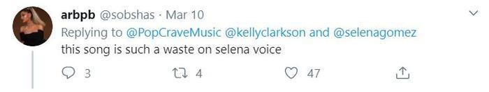 """""""Ca khúc này thực sự rất phí phạm qua giọng của Selena"""" - ý kiến của một netizen cho hay."""