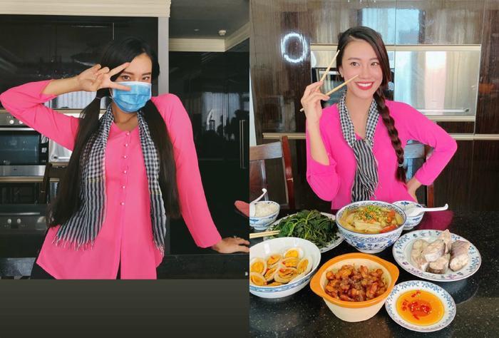 Á hậu Kim Duyên diện áo bà ba, quàng khăn rằn, trổ tài nấu nướng được fan khen ngợi duyên dáng, đảm đang.