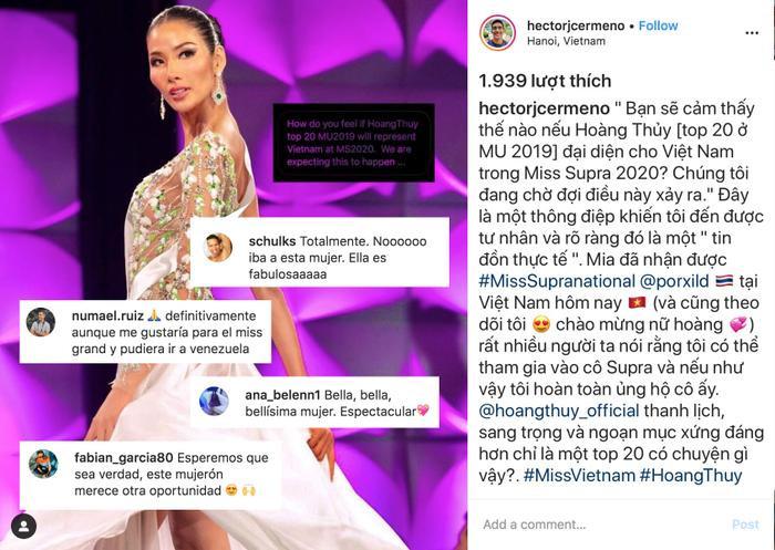 Chủ tịch Hoa hậu Hòa bình Quốc tế  Nawat thả tim ảnh Hoàng Thùy diện váy thi Miss Universe 2019 ảnh 0