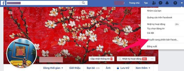 """Tiếp đến chọn """"Chuyển sang phiên bản Facebook mới""""."""