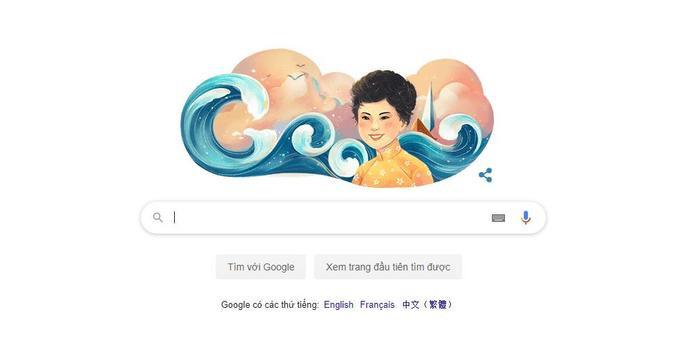 Nhà thơ Xuân Quỳnh được tôn vinh kèm biểu tượng sóng – bài thơ nổi tiếng của nữ thi sĩ này.