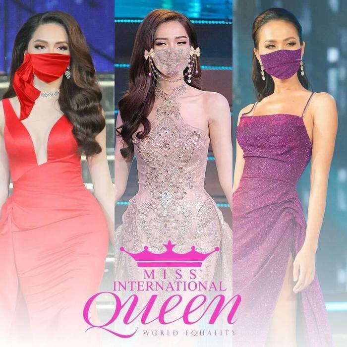 Hương Giang – Đỗ Nhật Hà – Hoài Sa trong trang phục dạ hội tại đêm chung kết Miss International Queen.