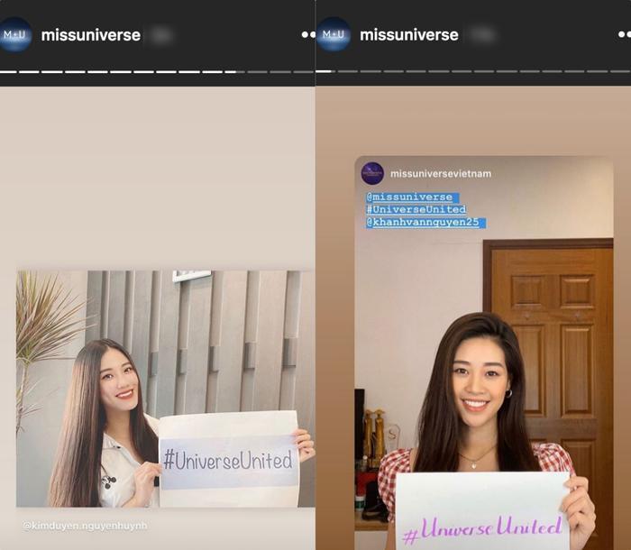 Khánh Vân – Kim Duyên xuất hiện rạng rỡ trên Instagram của Miss Universe.