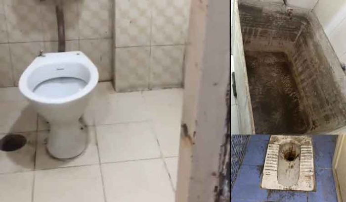 Nhà vệ sinh cáu bẩn trong khu cách ly.