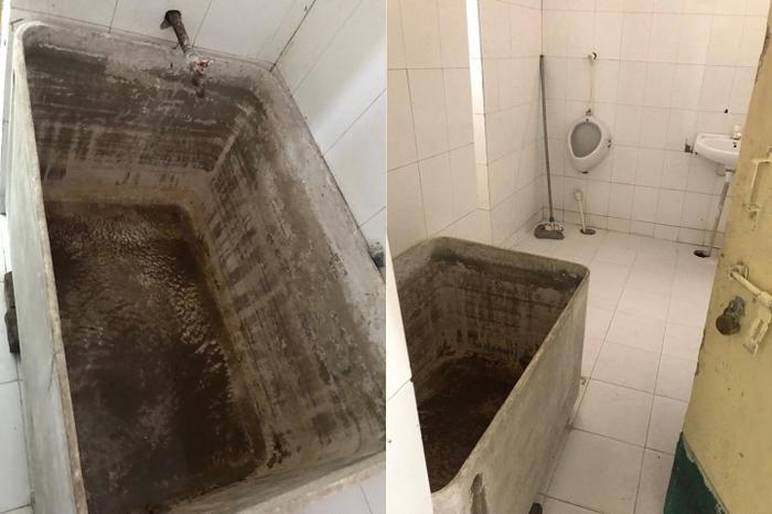 Nhà vệ sinh nhỏ hẹp nhưng có tới 40 người sử dụng.