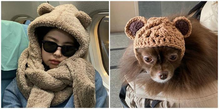Đội mũ gấu giống nhau chưa nè!