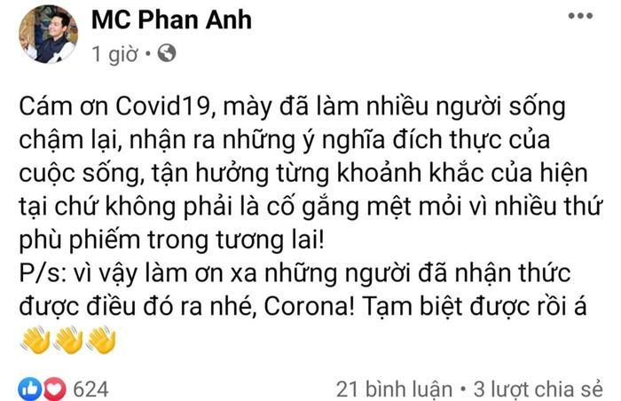 Dân mạng nổi đoá với phát ngôn của MC Phan Anh: Cảm ơn đại dịch Covid-19 ảnh 0