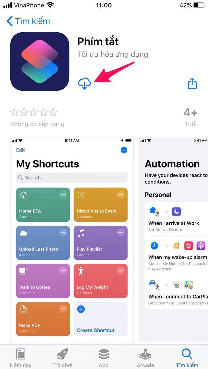 Trước tiên, hãy tải về ứng dụng Shortcuts (hoặc Phím tắt nếu bạn đang sử dụng App Store khu vực Việt Nam).